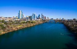 Dramatic Indutrial Aerial Over West Austin Texas Capital Cities Royalty Free Stock Photography