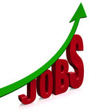 Dramatic Job Growth. A dramatically upward trending green arrow above the word, JOBS. On white with drop shadow Royalty Free Stock Photos