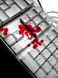 Dramatic keyboard. Blood spots on keyboard Royalty Free Stock Photos