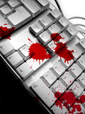 Dramatic keyboard. Blood spots on keyboard Royalty Free Stock Photography