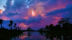 Dramatic lake sunset stock video