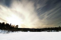 Dramatic Landsacpe. A dramatic landscape on a frozen lake Royalty Free Stock Photography