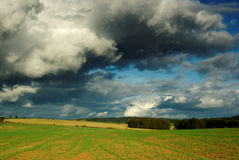 Dramatic landscape. View of dramatic sky with landscape in month September Royalty Free Stock Photography
