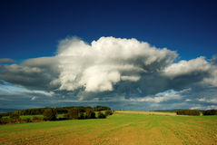 Dramatic landscape. View of dramatic sky with landscape in month September Royalty Free Stock Photos