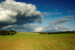 Dramatic landscape. View of dramatic sky with landscape in month September Stock Photo