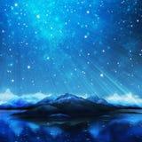 Dramatic landscape. Northern lights ,aurora borealis ,dramatic landscape royalty free illustration