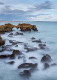 Dramatic landscape of the beach in Albufeira. Stock Image