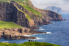 Dramatic landscape on Faroe islands. Royalty Free Stock Photography
