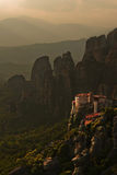 Dramatic landscape of monastery in Meteora Stock Photos