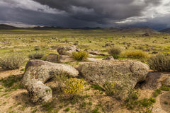 Dramatic landscape with rain clouds over the valley Stock Photography