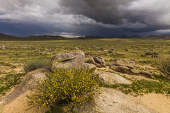 Dramatic landscape with rain clouds over the valley Stock Image
