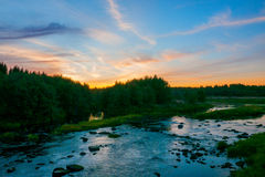 Dramatic Landscape with Sunset over the River Stock Images