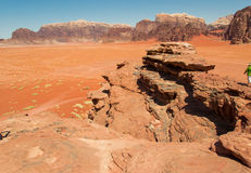 Dramatic landscape Wadi Rum desert,red sand, Jordan Middle East. UNESCO World Heritage. Adventure exotic concept. Royalty Free Stock Image