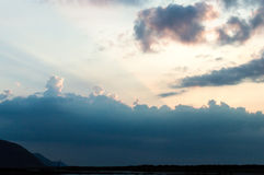 Dramatic Late Afternoon Cloudscape over Somerset A. Minimalist landscape photography royalty free stock photo