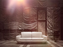 Dramatic leather sofa on stage canvas background. Dramatic stage construction site scaffold tarpaulin canvas background royalty free stock photography