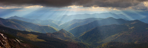 Dramatic light in the Carpathian Mountains, early spring Royalty Free Stock Image