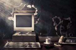 Dramatic lighting of an old vintage workspace Royalty Free Stock Photography