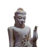 Dramatic lighting wood buddha on white background isolated Stock Photos