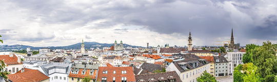Dramatic Linz Panorama. Panorama image of Linz in Austria with dramatic clouds Royalty Free Stock Image