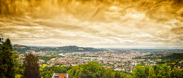 Dramatic Linz Panorama. Panorama image of Linz in Austria with dramatic clouds Stock Photos