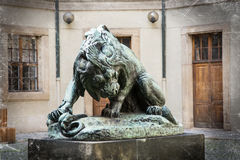 Dramatic lion statue Stock Photo