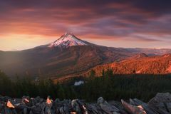 Majestic View of Mt. Hood on a bright, colorful sunset during the autumn months. The Pacific Northwest, Oregon, USA royalty free stock images