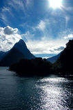 Dramatic Milford Sound. Dramatic Afternoon Silhouettes on Milford Sound Royalty Free Stock Photo