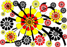 Dramatic modern abstract floral design on white background. The dramatic modern abstract floral design on a plain white background has a central yellow and red stock illustration