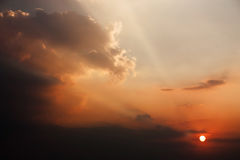 The Dramatic Moment of Sunset Sky and Clouds. Royalty Free Stock Images