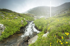 Dramatic moment of a white crosses appearing over the lake Royalty Free Stock Photos