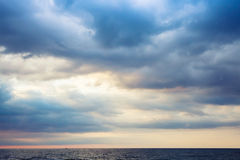 Dramatic morning seascape, colorful cloudy sky Royalty Free Stock Images