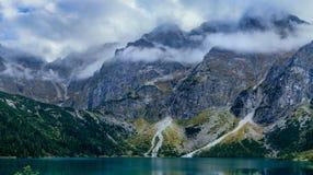 Dramatic mountain panorama. Mountain range above Morskie Oko Lake, Tatra National Park, Poland royalty free stock photos