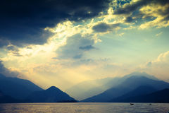 Dramatic mountains and lake royalty free stock photography