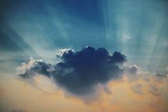 Dramatic nice sky sunset with sun rays Stock Photos