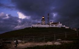 Old lighthouse at Cabo da Roca, Portugal Royalty Free Stock Photography