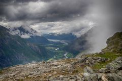 Dramatic norwegian landscape in cold summer. Nature travel in scandinavia mountain landscapes tourism Royalty Free Stock Photo