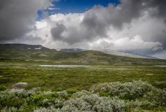 Dramatic norwegian landscape in cold summer. Nature travel in scandinavia mountain landscapes tourism Stock Photos