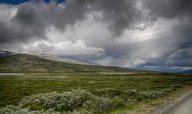 Dramatic norwegian landscape in cold summer Stock Photography