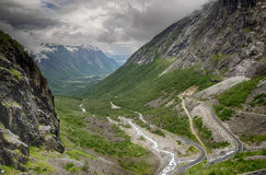 Dramatic norwegian landscape in cold summer Stock Photo