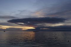 Dramatic Nuclear Explosion like Cloud over Filipino Sunset off Panglao Island, Philippines Stock Photo