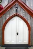 Dramatic oak wooden church doors Royalty Free Stock Photos