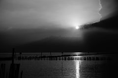 Dramatic ocean with sunset  black and white tone Stock Photography