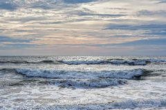 Dramatic ocean tide at Virginia Beach Royalty Free Stock Photo