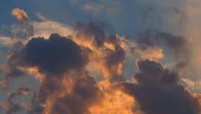 Dramatic orange blue clouds sky background Stock Photo