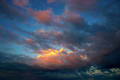 Dramatic orange and blue sky Royalty Free Stock Photography