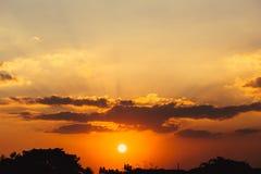 Summer sunset sky. Dramatic orange hot summer sunset sky royalty free stock image