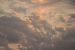 Dramatic orange sunset clouds Stock Images