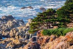 The dramatic Pacific Ocean coastline, California. Aerial view of the dramatic Pacific Ocean coastline, California royalty free stock photos