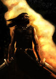 Dramatic painting of a warrior Royalty Free Stock Photo