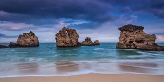 Dramatic panorama the beach of Albufeira. Stock Image
